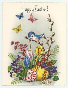 VINTAGE BLUEBIRD PUSSY WILLOWS TULIPS PINK FLOWERS EASTER EGGS CARD ART PRINT