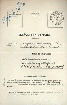 Télégramme officiel de mobilisation générale 2 août  1914 France