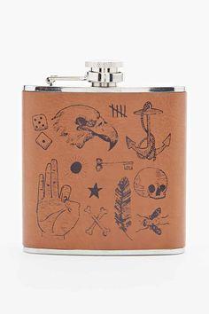 Printed Tattoo Hip Flask