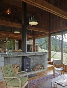 Coromandel corrugated iron home breaks with convention - Timber Battens, Freestanding Fireplace, Shed Homes, Barn Homes, Inside Home, House And Home Magazine, Rustic Interiors, Architecture Details, Cladding