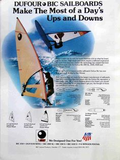 BIC sailboard range 1984 - an awesome collection of old windsurfing gear magazine ads.  Totally worth checking out the website!