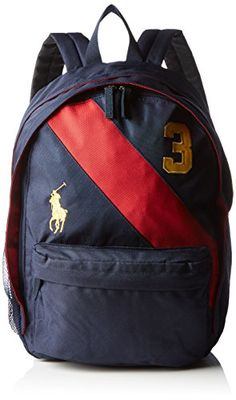 6f6e312beb8e Polo Ralph Lauren Banner Stripe II Large Backpack NavyRedGold Kids OS --  Click image to