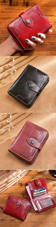 Handmade leather vintage women short wallet purse wallet