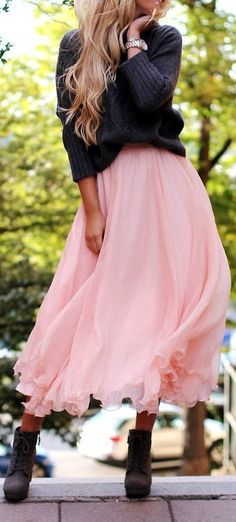 love the contrast of edgy with soft --The Perfect Pink Skirt