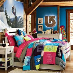 Awesome snowboarding-inspired room for a girl #Burton #PBteen