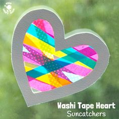 heart craft with a WOW factor! This Washi Tape Heart Suncatcher craft is simple to make and looks amazing.A heart craft with a WOW factor! This Washi Tape Heart Suncatcher craft is simple. Easy Mother's Day Crafts, Valentine's Day Crafts For Kids, Valentine Crafts For Kids, Crafts To Do, Craft Kids, Creative Crafts, Kinder Valentines, Valentines Diy, Sun Catchers