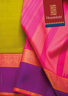 Unusual chartreuse green saree with rose pink pallu, highlighted by gold yazhi…