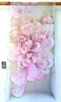 Hand painted Silk Shawl Scarf Japanese by SilkScarvesTakuyo