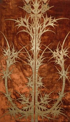 "George Washington Maher (1864-1926) - Thistle Portière. Appliquéd & Embroidered Cotton, Silk and Linen. Designed for the James A. Patten House, Evanston, Illinois. Circa 1901. 80-1/8"" x 48"" (203.7cm x 121.9cm)."