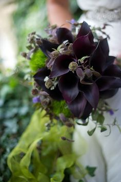 Black Calla Lily -- would be a pretty way to bring dark/chocolately tones to the flowers