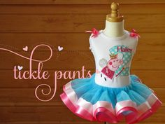 Peppa Pig Birthday Tutu Collection- Aqua, pink and bright pink- Includes top, tutu and hairbow- Can be made to match your party Aaliyah Birthday, Birthday Tutu, 3rd Birthday Parties, Birthday Celebration, Birthday Ideas, Peppa Pig Dress, Cumple Peppa Pig, Pig Party, Valentino