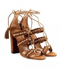 Aquazzura Tulum Fringed Studded Suede Sandals