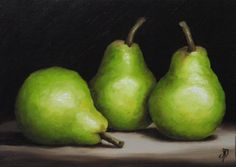 This simple still life of 3 pears is so beautiful. Pears have such graceful shapes and textures.  The highlights and shadows are very effective.  (Three Green Pears, J Palmer Daily painting Original oil)
