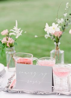 Coming Up Rosé Wedding Cocktail | Julie Paisley Photography | http://heyweddinglady.com/southern-spring-blossom-wedding-inspiration/