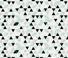 Triangles, Mint Black and Gray fabric by trizzuto on Spoonflower - custom fabric
