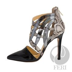 - Patent napa leather pump with stiletto heel - Napa leather sole and insole - Colour: Black with snake skin printed accent and gun metal accent - FERI logo hardware on sole and zipper pull - Heel height: inches Napa Leather, Luxury Shoes, Leather Pumps, Designer Shoes, Wealth, Stiletto Heels, Latest Trends, Fashion Accessories, Ladies Shoes