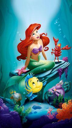 The Little Mermaid Phone Wallpaper - Mermaid - Wallpaper Ariel Disney, Princesa Ariel Da Disney, Mermaid Disney, Disney Little Mermaids, Disney Art, Walt Disney, Mermaid Mermaid, Mermaid Princess, Ariel Wallpaper