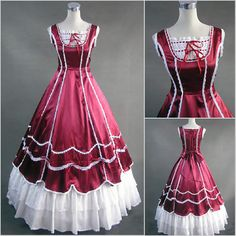Red Sleeveless Civil War Southern Belle Lolita Ball Gown Prom Dresses Masquerade Costumes SKU-301026