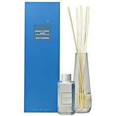 K Turner Blue Tangerine Reed Diffuser by Siena Julia. $59.00. Experience luxury room fragrance a different way with this set of scented oil which comes in a secure bottle, diffuser reeds, and striking glass jar which can be used as a vase when the oil is gone. The Kenneth Turner Blue Tangerine fragrance revitalizes and refreshes the senses. Delicately composed of fresh, citrus ingredients of lemon, orange and mandarin oils, it has head notes of mint and camphor, and rich ...
