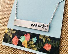 Vegan Necklace, Vegan Bar Necklace, Gift for Vegan, Vegan Jewelry, Silver Bar Necklace