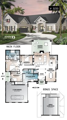 2080 sqft 3 bed, bath + bonus over garage, lar. - 2080 sqft 3 bed, bath + bonus over garage, lar. Sims 4 House Plans, Modern House Floor Plans, House Layout Plans, Bungalow House Plans, Ranch House Plans, New House Plans, Dream House Plans, House Layouts, Small House Plans
