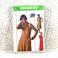 7750 SIMPLICITY Cut Complete PATTERN 1976 Women Pullover Stretch Knit Dress Top Cowl Collar Long Sleeves Pull-On Skirt Size 12 14 3-oz