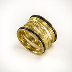 Robin Martin-Cust. Ring, 'Flowing Lines', 18K Gold, Steel at Patina Gallery. Ring,