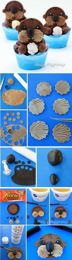 Get the recipe ♥ Sea Otter Cupcakes #recipes /recipes_to_go/