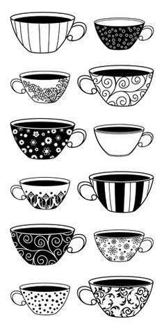 Inkadinkado - Clear Acrylic Stamps - Patterned Coffee Cups at Scrapbook.com $7.00/ discontinued, but idea for tea towels for pillows
