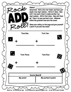 Double Digit Addition Games Tic-Tac-Toe and a Dice Game- Freebies! Math Tutor, Teaching Math, Teaching Ideas, Math 2, Math Education, Guided Math, Teaching Tools, Physical Education, Addition Games
