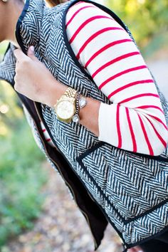Red Stripes & Herringbone Statement necklace. Jeans