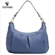 YUFANG Women Handbag First Layer Cowhide  Leather Handbag Women Messenger Bag Solid Crossbody Bags Top-Handle Shoulder Women Bag