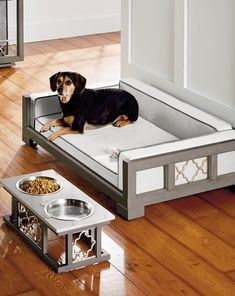 Dog Bed Solid Wood Small Light Grey Finish