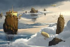 Floating Islands zeppelin, Sviatoslav Gerasimchuk on ArtStation at https://www.artstation.com/artwork/kQ3YK