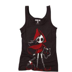 DEAD RIDING HOOD TANK TOP ($26) ❤ liked on Polyvore featuring tops, shirts, tank tops, shirts & tops, hooded shirt, hooded tank top and hooded top