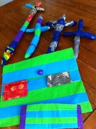 kid creations out of duct tape, tin foil, and paper