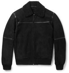 buy popular 3ee17 c276f Ermenegildo Zegna Slim-Fit Leather-Trimmed Shearling Jacket Mr Porter, Läder  Herr,