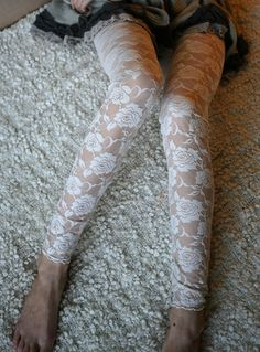 Cream white rose lace leggings by DGstyle on Etsy, $25.00 Under holy jeans??? :3