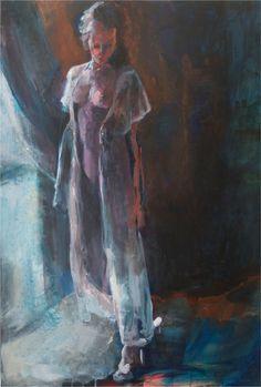 Schilderij 'Alwien'. 70 x 100 cm € 2.495,- Actrice Alwien Tulner stond model in haar eigen Great Barn in Baambrugge. www.thegreatbarn.nl