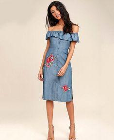 50c8a1f247 Rose Embroidery Off Shoulder Demin Dresses. Demin DressBlue Denim ...