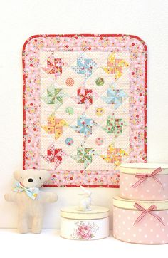 Pinwheel Mini Quilt made with Backyard Roses and Bloom and Bliss for Riley Blake Designs by Nadra Ridgeway