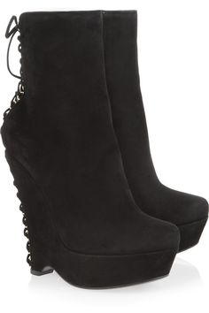 Yves Saint Laurent | Madge laced-back suede wedge ankle boots | NET-A-PORTER.COM