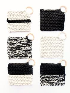 Knit Coasters |The Croix Coaster Collection | Multi-Color, Multi-Pattern | Black & Cream Crochet Kitchen, Crochet Home, Crochet Baby, Crochet Patterns For Beginners, Knitting Patterns, Modern Coasters, Christmas Sewing Projects, Craft Stick Crafts, Textiles