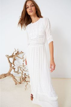 luxe & lacy Victorian inspired silk maxi from; Ulla Johnson collection