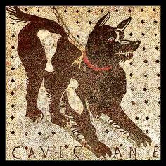 Cave Canem (Beware of the Dog) Mosaic, Pompeii, Italy - a popular motif for the thresholds of Roman villas.