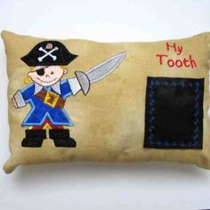 Pirate Tooth Fairy Pillow Embroidered Applique