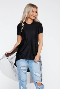 StarShinerS black casual cotton asymmetrical t-shirt with net accessory, net accessory, slightly elastic cotton, asymmetrical cut, short sleeves, thin fabric, easy cut