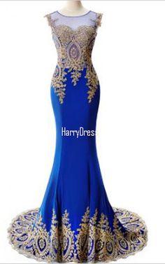 Appliques Royal Blue Scoop Neckline Cap Sleeve Sweep Train Mermaid  Sleeveless Long Prom Dress