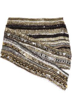 Crystal-embellished metallic silk mini skirt by Balmain