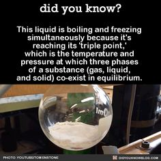 "did-you-kno: ""This liquid is boiling and freezing simultaneously because it's reaching its 'triple point,' which is the temperature and pressure at which three phases of a substance (gas, liquid, and solid) co-exist in equilibrium. Source """